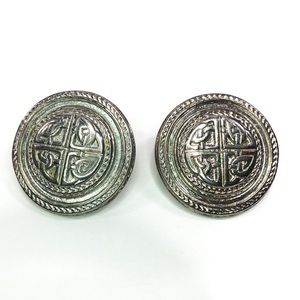 GIVENCHY Vintage Silver Tone Medallion Earrings